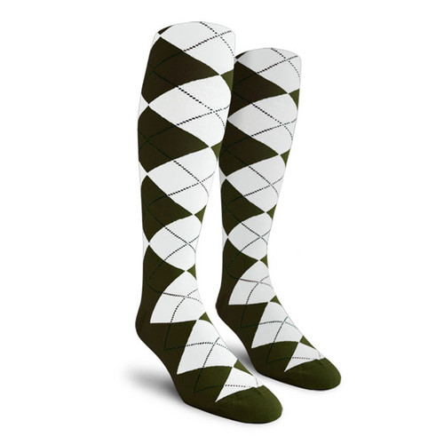 Argyle Socks - Ladies Over-the-Calf - U: Olive/White