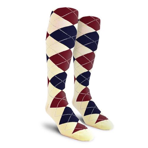 Argyle Socks - Ladies Over-the-Calf - Y: Natural/Navy/Maroon