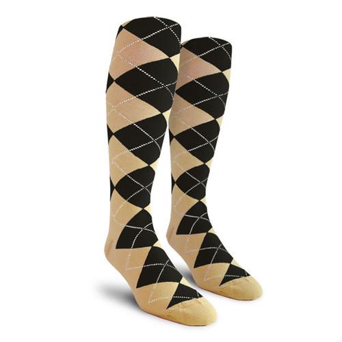 Argyle Socks - Ladies Over-the-Calf - OO: Khaki/Black
