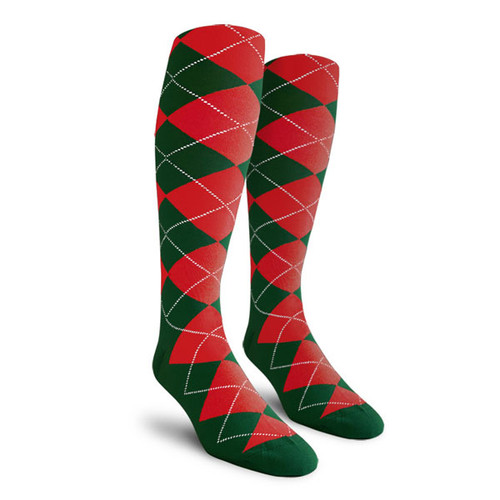 Argyle Socks - Ladies Over-the-Calf - WW: Dark Green/Red
