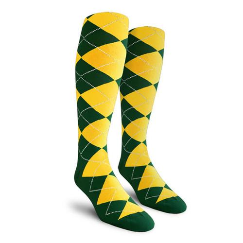 Argyle Socks - Ladies Over-the-Calf - EEE: Dark Green/Yellow
