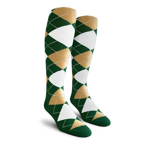 Argyle Socks - Ladies Over-the-Calf - HHHH: Dark Green/Khaki/White