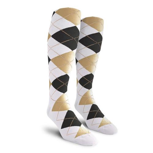 Argyle Socks - Ladies Over-the-Calf - YYY: White/Black/Khaki