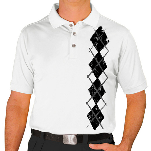 Mens Argyle Heaven Golf Shirt - Black