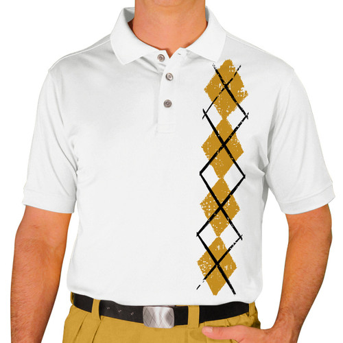 Mens Argyle Heaven Golf Shirt - Gold