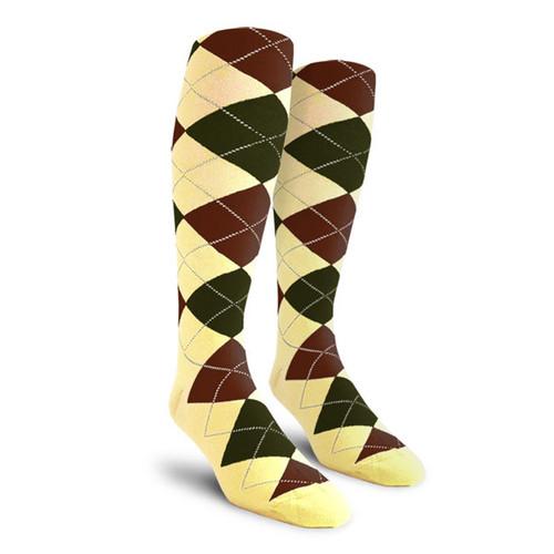 Argyle Socks - Mens Over-the-Calf - J: Butter/Olive/Brown