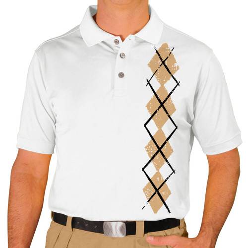 Mens Argyle Heaven Golf Shirt - Khaki