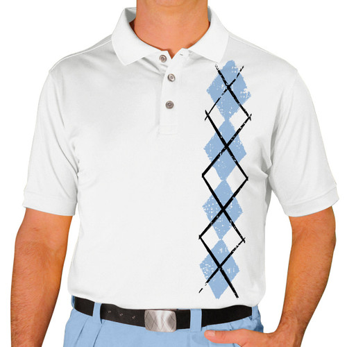 Mens Argyle Heaven Golf Shirt - Light Blue