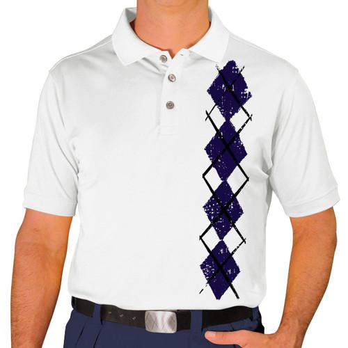 Mens Argyle Heaven Golf Shirt - Navy