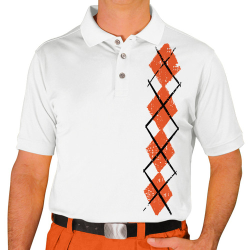 Mens Argyle Heaven Golf Shirt - Orange