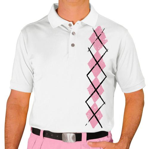 Mens Argyle Heaven Golf Shirt - Pink