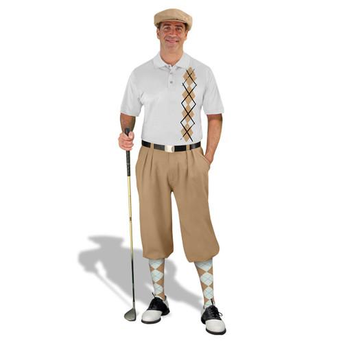 Golf Knickers - White/Khaki Argyle Heaven Outfit