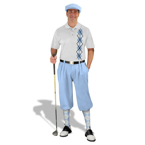 Golf Knickers - White/Light Blue Argyle Heaven Outfit