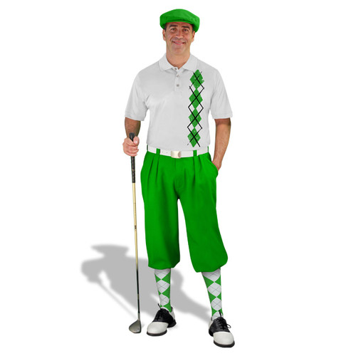 Golf Knickers - White/Lime Argyle Heaven Outfit