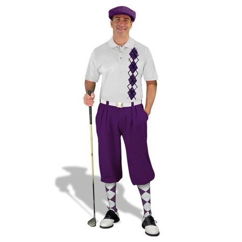 Golf Knickers - White/Purple Argyle Heaven Outfit