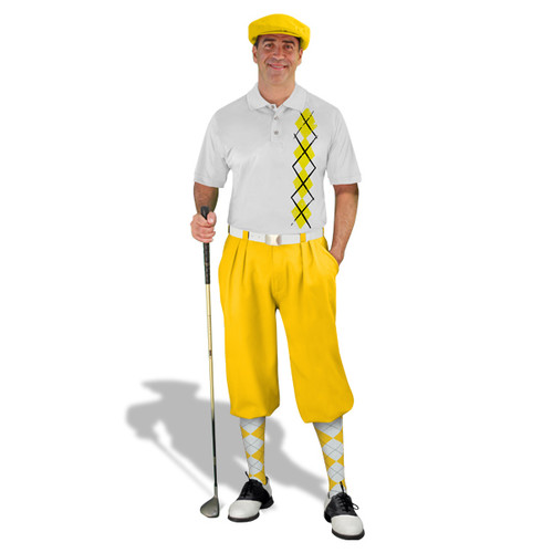 Golf Knickers - White/Yellow Argyle Heaven Outfit