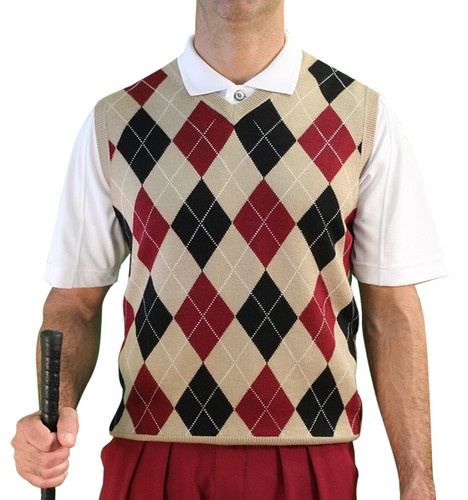Argyle Sweater Vest - Mens Khaki/Black/Maroon