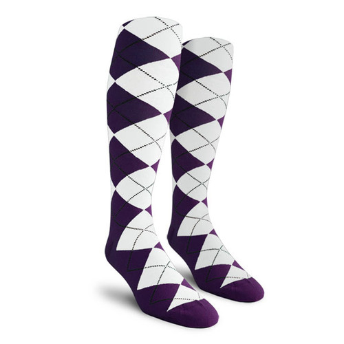 Argyle Socks - Ladies Over-the-Calf - BB: Purple/White