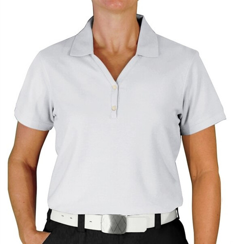 Ladies Clubhouse Golf Shirt - White