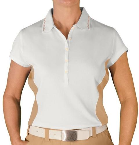 Ladies Clubman Golf Shirt - White/Khaki