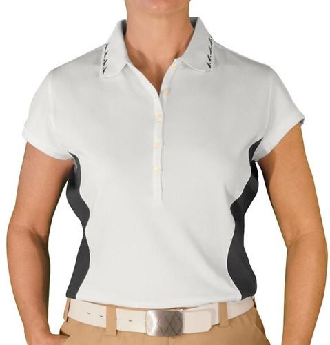 Ladies Clubman Golf Shirt - White/Black