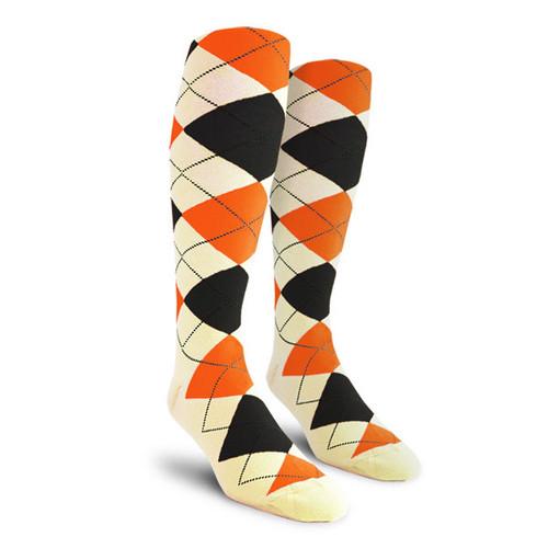 Argyle Socks - Ladies Over-the-Calf - QQQQ: Natural/Black/Orange