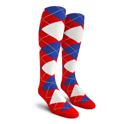 Argyle Socks - Youth Over-the-Calf - 5K: Red/White/Royal