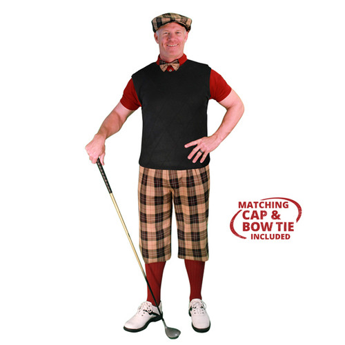 Mens Amsterdam, Maroon & Black Sweater Golf Outfit
