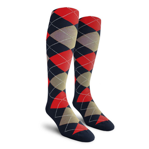 Argyle Socks - Youth Over-the-Calf - V: Navy/Taupe/Red