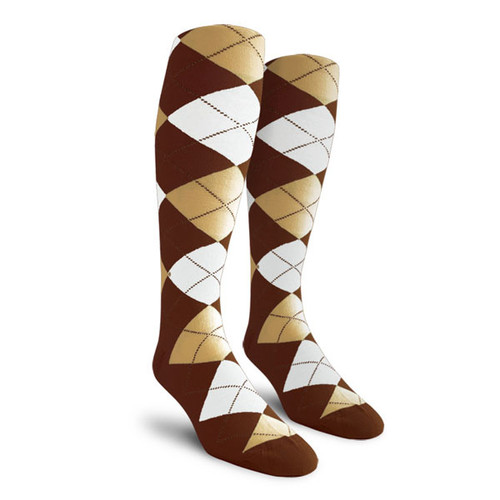 Argyle Socks - Ladies Over-the-Calf - RR: Brown/Khaki/White