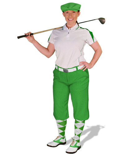 Ladies Lime & White Wedge Golf Outfit