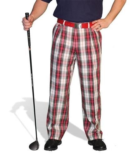 Plaid Golf Pants - 'Par 5' Mens Cotton/Ramie