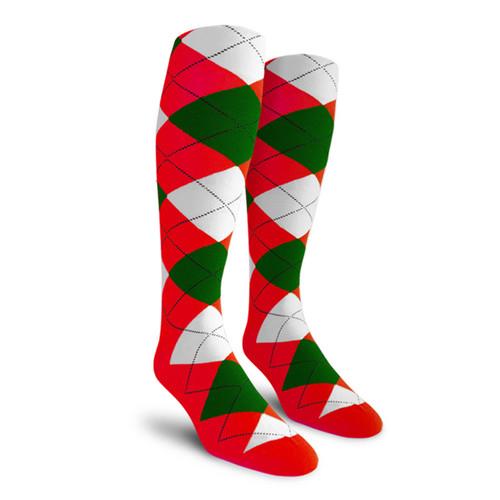 Argyle Socks - Mens Over-the-Calf - 5P: Red/Dark Green/White