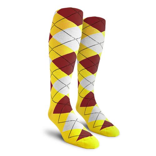 Argyle Socks - Mens Over-the-Calf - 5R: Yellow/Maroon/White