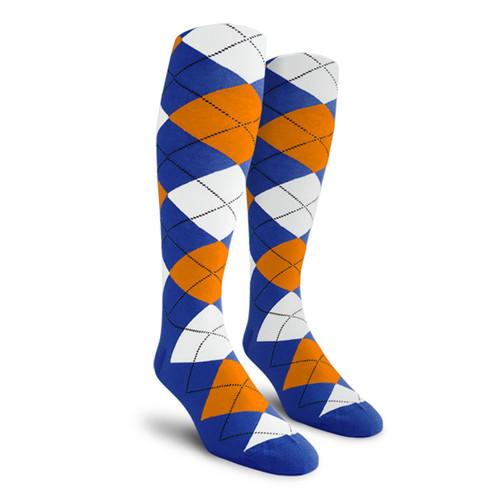 Argyle Socks - Mens Over-the-Calf - 5S: Royal/White/Orange