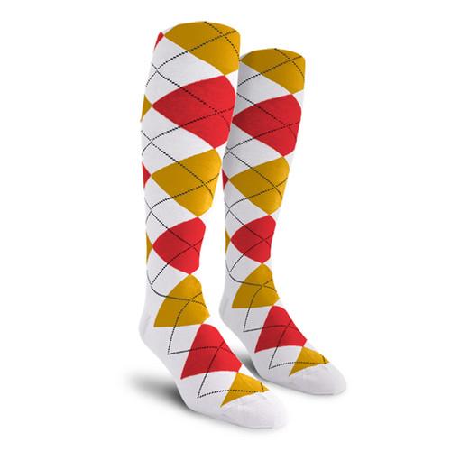 Argyle Socks - Mens Over-the-Calf - 5W: White/Gold/Red
