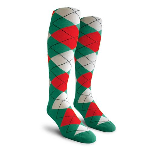 Argyle Socks - Mens Over-the-Calf - 5X: Teal/White/Red