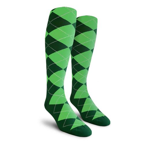 Argyle Socks - Mens Over-the-Calf - 5Y: Dark Green/Lime
