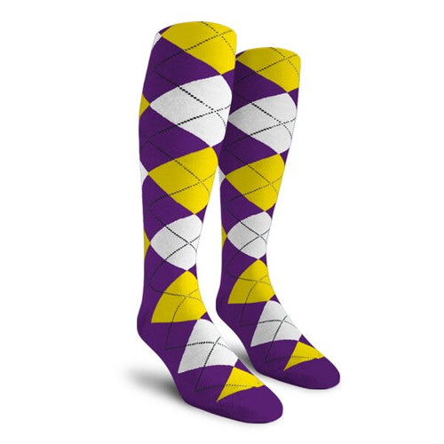 Argyle Socks - Ladies Over-the-Calf - 5Q: Purple/Yellow/White