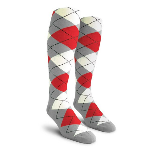 Argyle Socks - Ladies Over-the-Calf - 5T: Taupe/White/Red