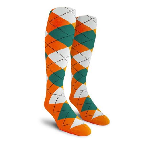 Argyle Socks - Ladies Over-the-Calf - 5V: Orange/Teal/White