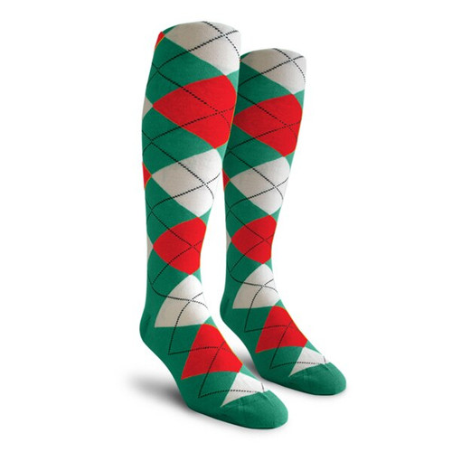Argyle Socks - Ladies Over-the-Calf - 5X: Teal/Red/White