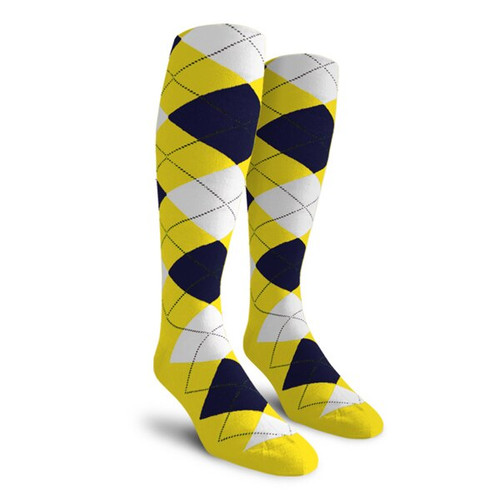 Argyle Socks - Ladies Over-the-Calf - 5Z: Yellow/Navy/White