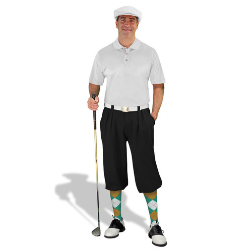 Mens Black, White & Teal Golf Outfit