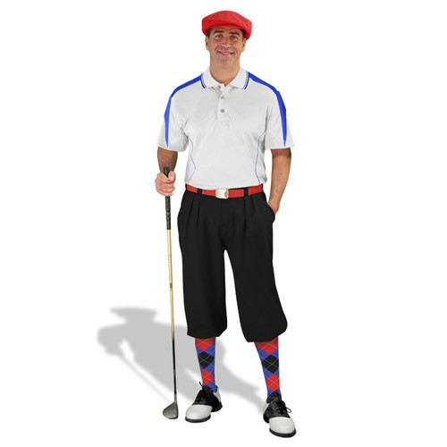 Mens Wedge Royal, Black & Red Golf Outfit