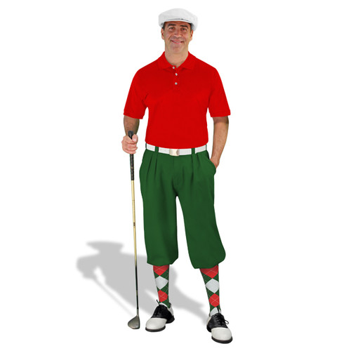Mens Dark Green, Red & White Golf Outfit