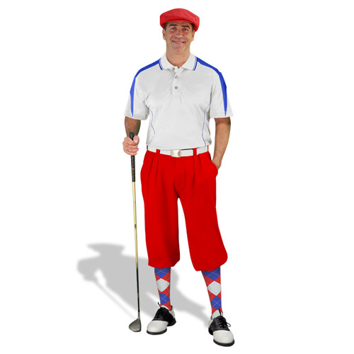 Mens Wedge White/Royal & Red Golf Outfit
