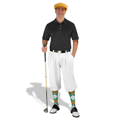 Mens White, Black, Teal & Gold Golf Outfit