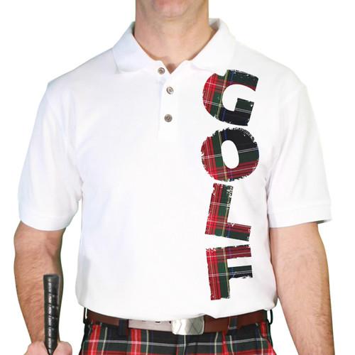 Mens Stewart Plaid Golf Shirt - Black Stewart