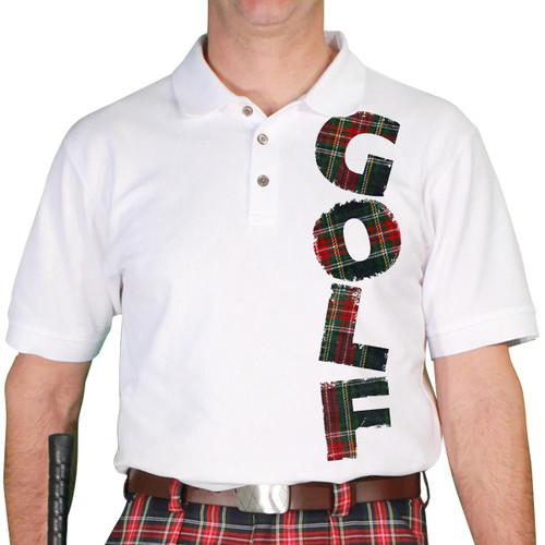Mens Stewart Plaid Golf Shirt - Navy Stewart
